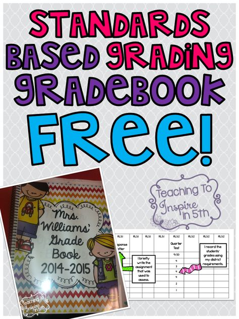 Standards Based Grading Gradebook for 5th Grade Common Core...FREE
