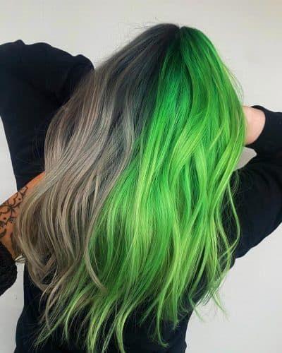 23 Brilliant Split Hair Color Ideas That Ll Make You Dye Your Hair In 2020 Split Dyed Hair Hair Inspo Color Split Hair