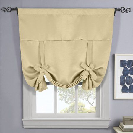 Ava Blackout Weave Tie Up Shade With Rod Pockets Curtains For Small Window 46 W X 63 L Beige Walmart Com Tie Up Shades Small Window Curtains Small Windows