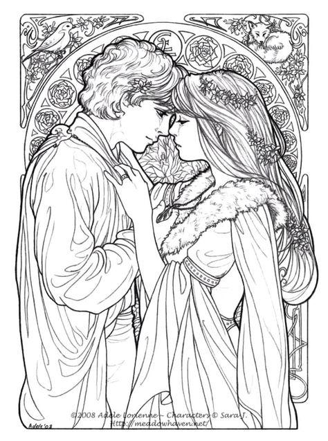 Casal Romantico Medieval Para Colorir Desenhos Para Colorir