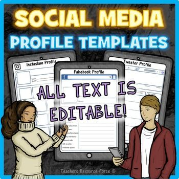 All about me Social Media Character editable profile templates - profile templates
