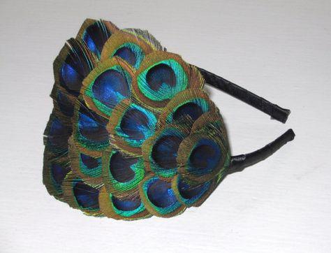 Pavo real ojo plumas diadema plumas verde azul turquesa
