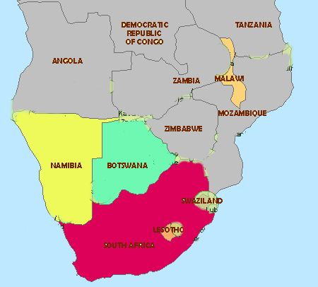 The Most Southern Countries In Africa Map AfrS S Africa - South africa map countries