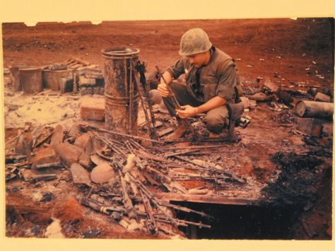 Aftermath of the first day at the Siege of Khe Sanh. Checking out the remains of a supply tent. Photo courtesy of the National Archives. BRAVO! COMMON MEN, UNCOMMON VALOR @ https://bravotheproject.com/. #BRAVO! #USMC #VietnamWar #KheSanh