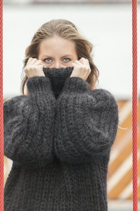 Dicke Mohair Pullover, Turtleneck Pullover, Hand gestrickte Pullover, flauschige Pullover, riesige übergroße Pullover, Mohair Fetisch, Chunky Pullover T461