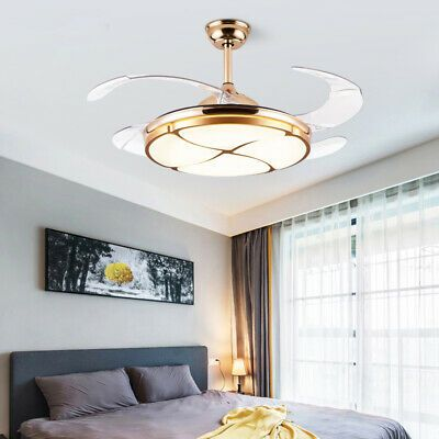 Light And Yellow Light Off High Mid Low Switch For Fan Speed And Timing Function Style Modern Source Led Li In 2020 Led Chandelier Chandelier Fan Gold Ceiling Fan