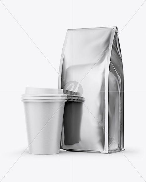 Download Metallic Bag With Coffee Cup Mockup Half Side View In Packaging Mockups On Yellow Images Object Mockups Paper Coffee Cup Mockup Free Psd Metallic Bag