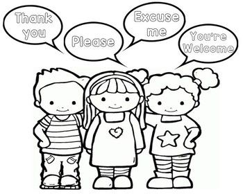 Coloring Page With Some Good Manner Phrases Manners Preschool Manners For Kids Preschool Printables