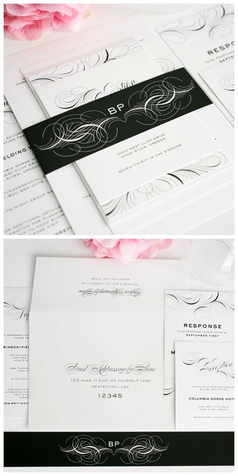 Wedding Invitations with Flourishes in Black and White