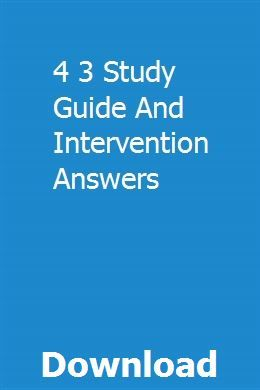 4 3 Study Guide And Intervention Answers With Images Study