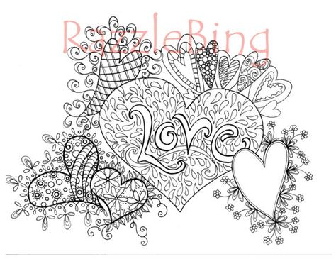 """DIY  Printable Coloring Page-Zentangle inspired """"LoveHearts"""" Doodle-PDF Instant Download- Valentines Day"""