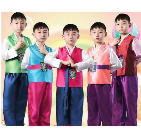 7a47592d08 Children Korean National Costume Male Traditional Korean Hanbok 3 PCS Kids  Asian National Korean Traditional Clothing