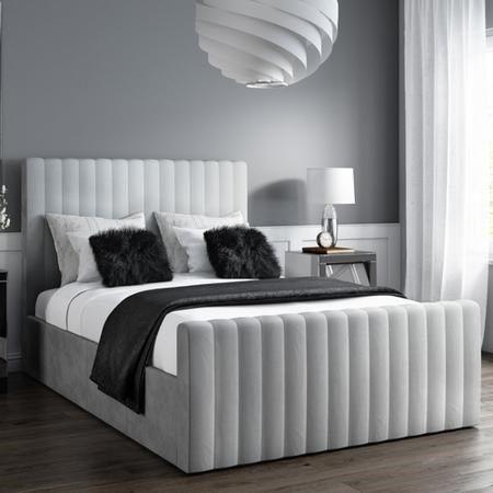 Incredible Blenheim Light Grey Velvet Fabric Winged Bed Spiritservingveterans Wood Chair Design Ideas Spiritservingveteransorg