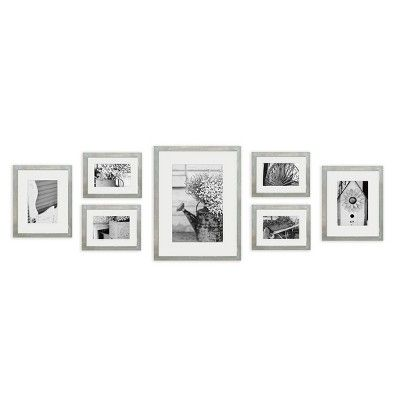 Gallery Perfect 8 X 10 5 X 7 4 X 6 7pc Photo Wall Gallery Kit With Decorative Frame Set Gray Wall Frame Set Frames On Wall Picture Frame Wall