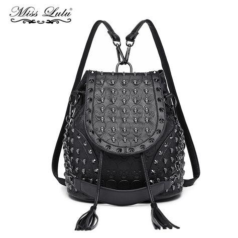 036050cae5d8 Miss Lulu Women Designer Backpacks Girls Drawstring School Bags Skull  Embossed Stud PU Leather Shoulder Bag Tassel Daypack L1414
