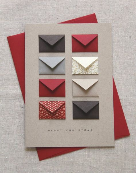 Merry Christmas Red and Gold - Tiny Envelopes Card