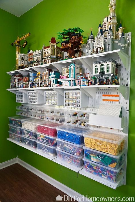 Master your Lego storage and organization with Wall Control pegboard panels and accessories. With clear bins and drawers all your Lego bricks and pieces are stored and easily accessible for building and display. This wall hung arrangement is great for sma Pegboard Craft Room, Pegboard Display, Pegboard Storage, Kitchen Pegboard, Toy Storage, Ikea Pegboard, Painted Pegboard, Wall Storage, Garage Tool Storage