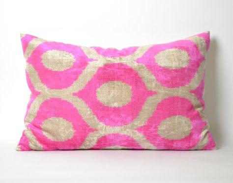 Ikat Pillow Covers Pink Throw Pillow