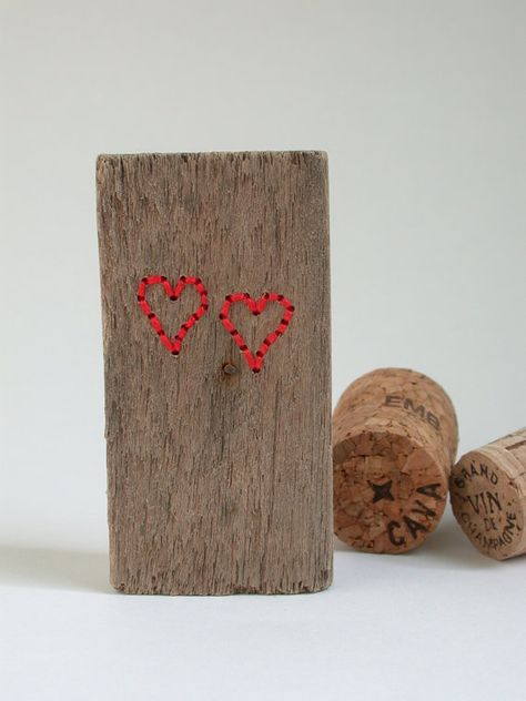 Vibrant Red Double Driftwood Heart Decorative Object One Off Hand Made Handmade Picture Hangers Arts Crafts