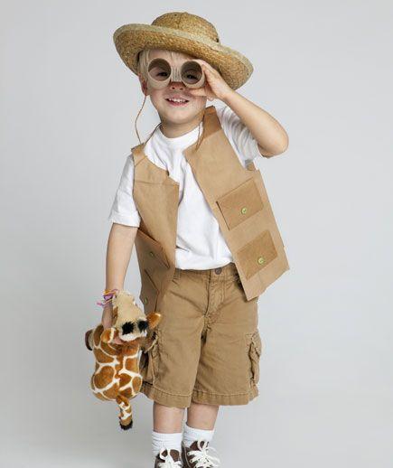 paper bag safari vest and cardboard tube binoculars