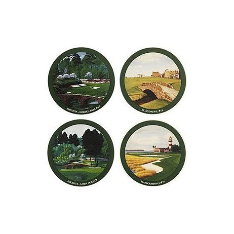 Golf Gifts & Gallery 4-Piece Famous Holes Sandstone Coaster Set by Golf Gifts & Gallery. $16.55. Durable sandstone. Great for home or office. Set of 4. Beautiful golf themed coasters. Golf Motif Sandstone Coaster Set....Great Home Accessory! Golf Motif Sandstone Coaster Sets feature: 4-piece sandstone coaster set Great for any decor Comes in a gift box Measures 4 round Styles: Famous Golf Holes Humorous Nostalgic Makes A Great Gift For The Golf Lover!. Save 17%!