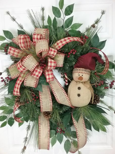Christmas Wreath, Winter Wreath, Snowman Wreath, Country Wreaths by… Christmas Door Wreaths, Noel Christmas, Holiday Wreaths, Rustic Christmas, Christmas Ornaments, Winter Wreaths, Christmas Store, Christmas Vacation, Snowman Wreath