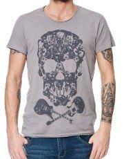 Terranovastyle.com - T-Shirt uomo in jersey di cotone tinta unita. Modello con stampa teschio formato da chitarre, mezza manica