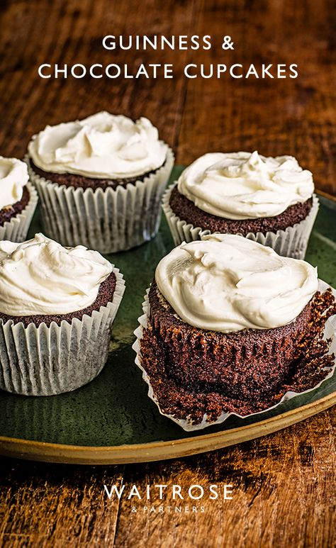 A velvety bake, these chocolate and Guinness cupcakes are wonderfully rich and creamy treats to share. Swirl with cream cheese icing for extra indulgence.   Tap for the full Waitrose  Partners recipe.