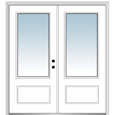 Verona Home Design 72 X 80 Fibreglass Smooth 3 4 Lite 1 Panel Clear Glass Double Entry Door Aluminum Screen Doors Wood Exterior Door Entry Doors