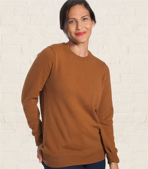 b7bf03aa4a Ladies Cashmere and Merino Crew Neck Knitted Sweater