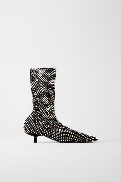 Beaded mesh kitten heel ankle boots