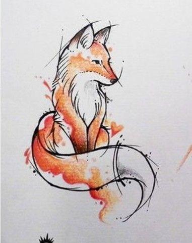 Aquarell Fuchs Tatowierung Artsy Fox Tattoo Watercolour