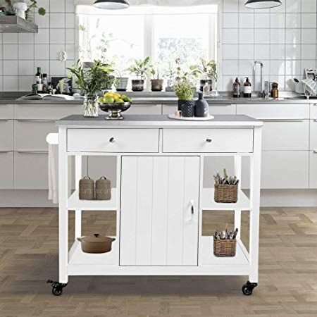 Amazon Com Choochoo Kitchen Islands On Wheels With Stainless