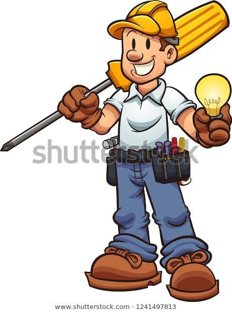Descubra Electricista De Caricaturas Sostiene Un Destornillador Imágenes De Stock En Hd Y Millones De Ot Engineer Cartoon Cartoon Illustration Electrician Logo