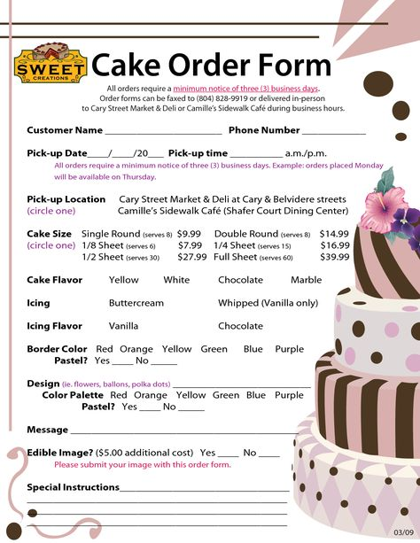 Order+Forms+Cake negocios Pinterest Order form, Cake and - cake order forms