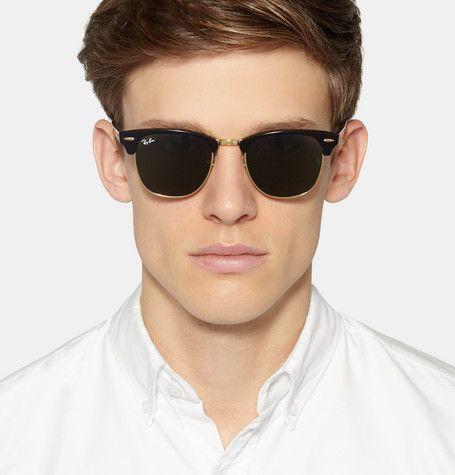 Mens black square polarised sunglasses