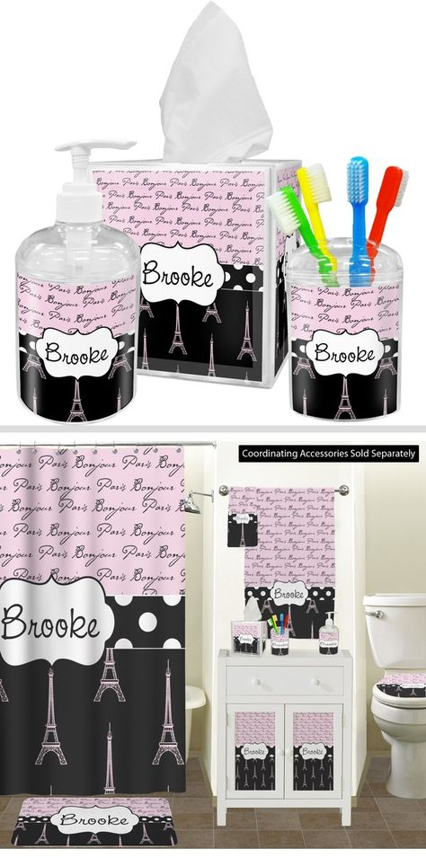 Paris Bonjour And Eiffel Tower Bathroom Accessories Set Personalized With Images Bathroom Accessories Sets Personalized Bathroom Bathroom Decor Accessories