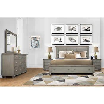 Somerville 5 Piece Cal King Bedroom Set Gray Dream Home Plans