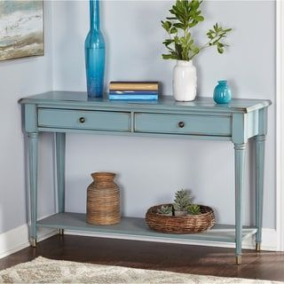 Simple Living Emilia Antique Blue Sofa Table In 2020 Blue Console Table Wood Console Table Sofa Table