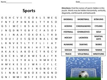 This Is A Basic Word Search Of Twenty One Common Types Of Sports The Answer Key Is Included The Words Include Tennis Golf Tips Football And Basketball Golf