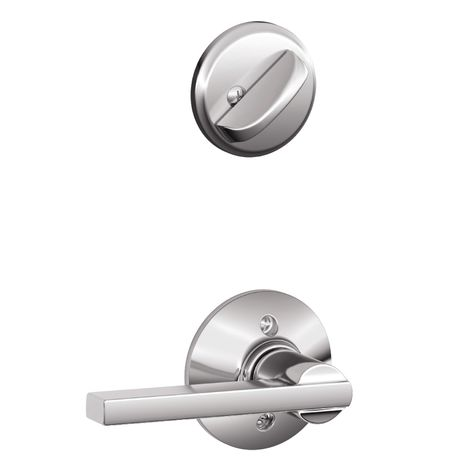 Schlage Latitude 1 5 8 In To 1 3 4 In Bright Chrome Single Cylinder Lever Entry Door Interior Handle Entry Doors Chrome Chrome Finish