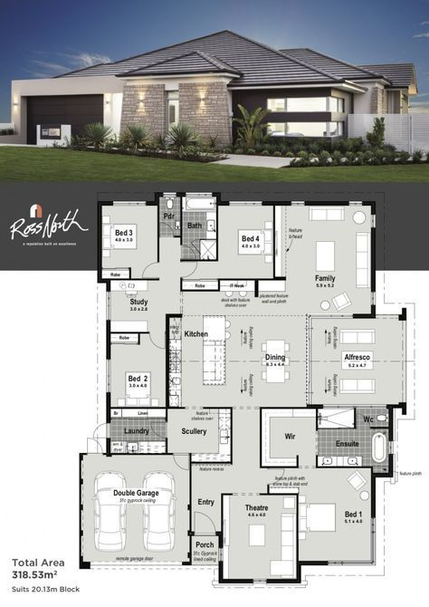A Spacious 4x2 Home Designed For Seamless And Functional Entertaining With Family And Friends The Modern Wel My House Plans House Layouts Modern House Plans