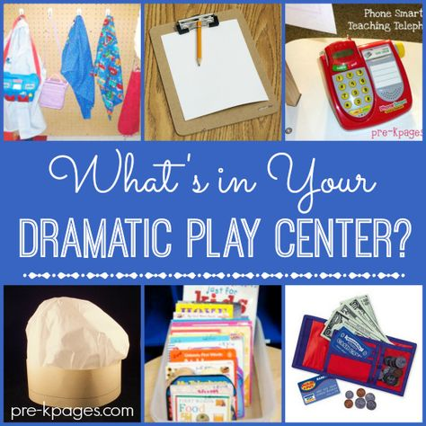 Dramatic Play Center Materials. Hmmm what might this look like for older students? Something to think about...