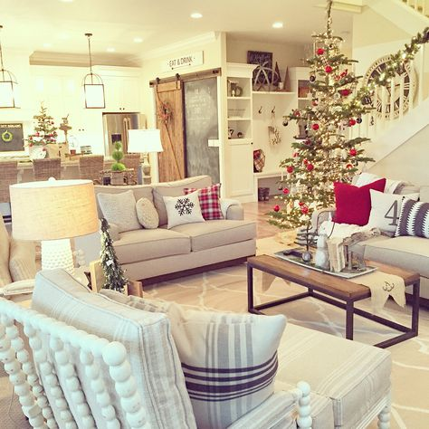 Neutral + pops of red for a farmhouse Christmas. Interior design by Janna Allbritton of Yellow Prairie Interior Design.