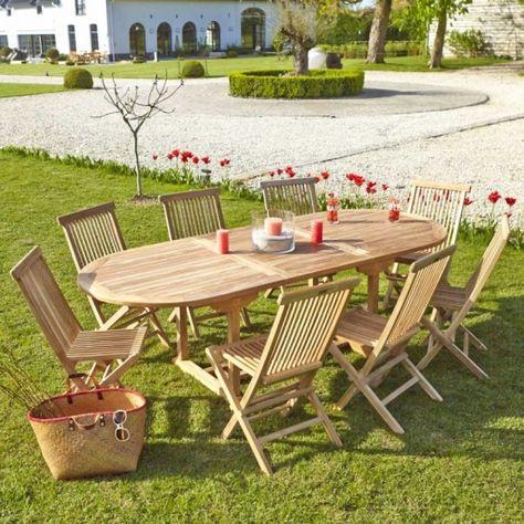 Table de jardin ovale en bois de teck 8/10 places MIDLAND ...