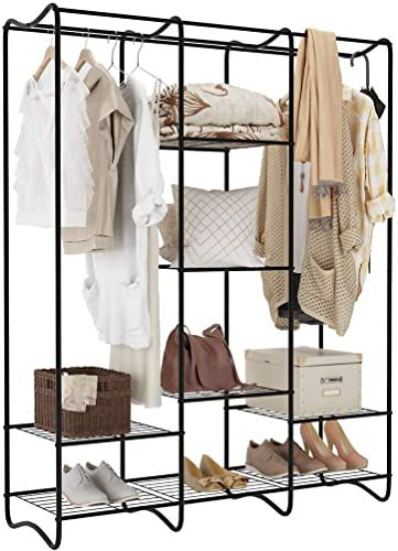 New Langria Large Free Standing Closet Garment Rack Made Sturdy Iron Spacious Storage Space 8 Shelves Clothes Hanging Rods Heavy Duty Clothes Organizer Bedro In 2020 Free Standing Closet Standing Closet Garment Racks