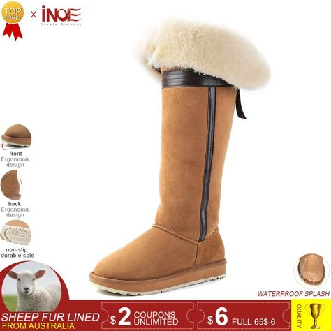 c30ce7571b22 INOE over the knee sheepskin suede leather wool fur lined winter long high snow  boots for women bow-knot winter shoes flat 35-44 Review
