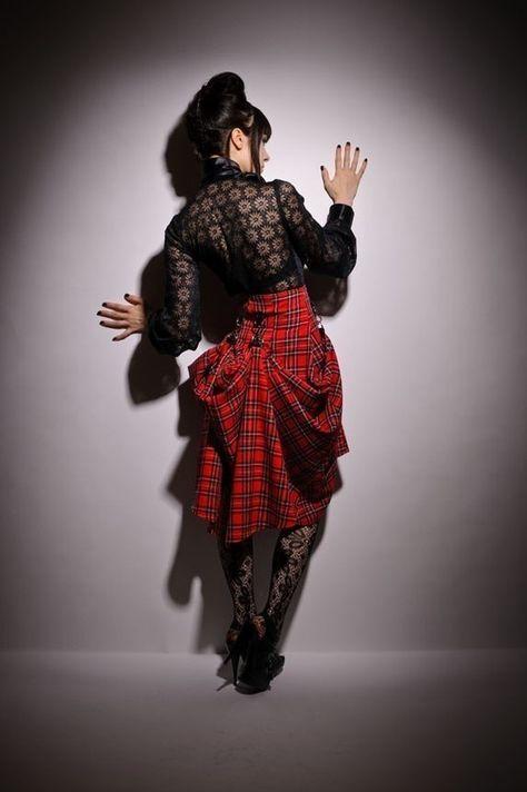 Sale 1 week SteamPunk Custom Make Lilith Plaid Tartan Black Red High Waist Bustle Victorian Skirt