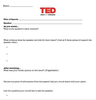 Ted Talk Worksheet Remarks For Report Card Ted Talks Education