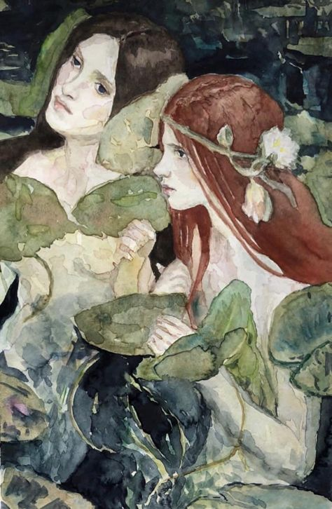 Hylas and the Nymphs study : Watercolor Alphonse Mucha, Mermaid Art, Mermaid Tails, Tattoo Mermaid, Vintage Mermaid, Fairytale Art, Wow Art, Watercolor Paintings, Mermaid Paintings